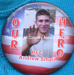 A pin depicts U.S. Army Pfc. Andrew Small, of Wiscasset, who was killed in action in Nangalam, Afghanistan, Aug. 11, 2006. Members of the Small family wore the pin to the Wiscasset Memorial Day service.