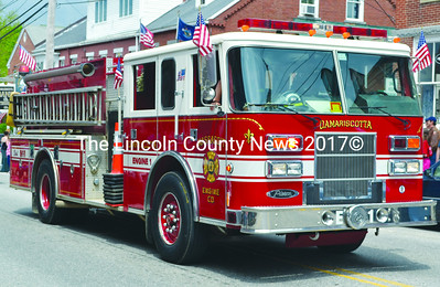 Damariscotta Fire Department Engine 1 brings up the rear at the Twin Villages Memorial Day parade. (Tim Badgley photo)