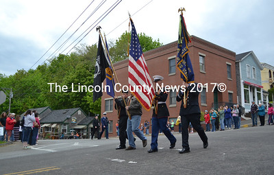 A color guard marches down Main Street. (D. Lobkowicz photo)