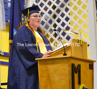 "Class President Ashton Harvey gave the greeting at graduation June 11, encouraging her classmates to ""shoot for the stars."" (D. Lobkowicz photo)"