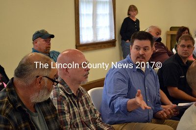 Gardiner City Manager Scott Morelli answers questions about the proposed amulance service contract at Dresden's annual town meeting June 14. (Kathy Onorato photo)