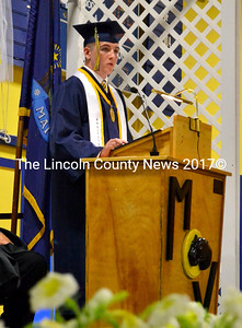 Salutatorian Cyril Miller addresses his fellow classmates, encouraging them to remember their past. (D. Lobkowicz photo)