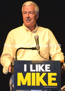 U.S. Rep. Mike Michaud addresses the Lincoln County Democrats kick-off rally for his gubernatorial campaign at Lincoln Theater in Damariscotta July 7. (Tim Badgley photo)