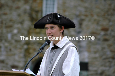 Historic site intern David Ulin-O'Keefe speaks as the Rev. Samuel Seabury about the reverend's worry about the colonies. (Eleanor Cade Busby photo)