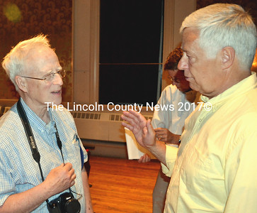 U.S. Rep. Mike Michaud meets constituents at the Lincoln County Democrats kick-off rally for his gubernatorial campaign held July 7 in Damariscotta. (Tim Badgley photo)