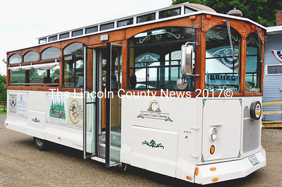 The Newcastle-Damariscotta-Boothbay Harbor Trolly Service visits at the Newcastle train depot on its first day of operation July 4. (Tim Badgley photo)