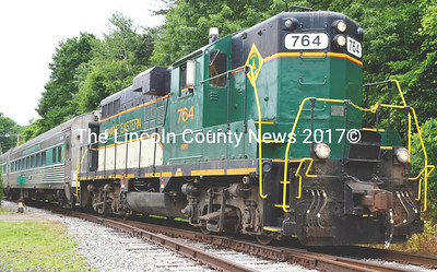 The Wiscasset Flyer pulls into the Newcastle depot delivering passengers at 12: 15 p.m. on its first run July 4. (Tim Badgley photo)