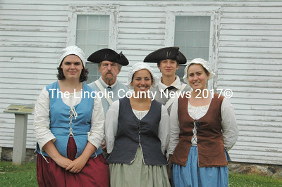 Colonial Pemaquid State Historic Site re-enactors (from left) Quinn Gormley, Don Loprieno, Ann Crowley, David Ulin-O'Keefe, and Amy Ulin-O'Keefe. (Eleanor Cade Busby photo)
