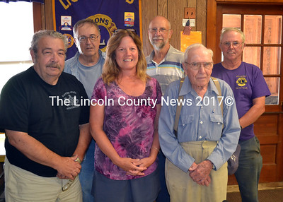 The Whitefield Lions Club needs volunteers to staff its food booth at the Windsor Fair. Lions already signed up and ready to go include (front from left) Leo Gould, Lynda Despard, and Paul Huber; (back from left) Dick Scofield,  Jerry Maldovan, and David Jackson. (Kathy Onorato photo)