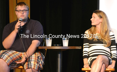 Keller BLOOM alumnus Briar Bragdon (left) speaks about his experience in the program during a Cafe Scientifique event at The Opera House at Boothbay Harbor on Tuesday, July 29. Fellow Keller BLOOM graduate LeAnn Whitney looks on. (Tim Badgley photo)