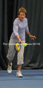 Susan Beaudette returns a shot in pickleball round-robin play at the CLC YMCA July 24. (Paula Roberts photo)