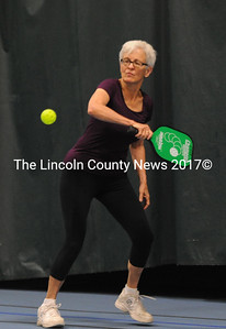 Newcomber to the sport of pickleball, Pat Manning returns a backhand shot.  (Paula Roberts photo)