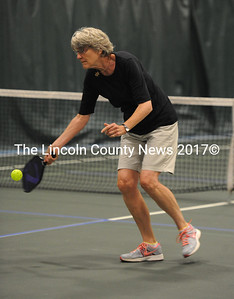 Anne Jackson returns a shot while playing pickleball at the CLC Y.  (Paula Roberts photo)