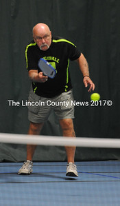 One of the founders of pickleball play at the CLC YMCA, Dick Dunphey returns a shot.  (Paula Roberts photo)