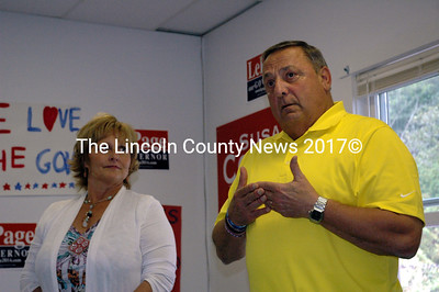 Maine Gov. Paul LePage speaks at an open house at the Midcoast Freedom '14 Office in Damariscotta Wednesday, Aug. 20. First Lady Ann LePage looks on. (J.W. Oliver photo)