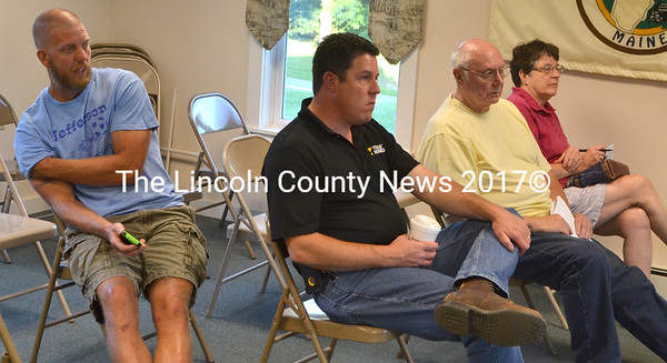 Jefferson School Committee members (from left) Shawn St. Cyr, Forrest Bryant, Chair Bob Westrich, and Joan Jackson came before the Jefferson Board of Selectmen Aug. 25 to see what support the town could offer in fixing problems with the school's new baseball field. (D. Lobkowicz photo)