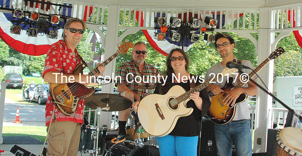 """The Commoners"" featuring Scott Elliot, ""Dickie Doo"" Hollis, Chris Gagne and Gabe Tonin, entertained at the 250th anniversary celebration of Boothbay on Saturday. (Eleanor Cade Busby photo)"