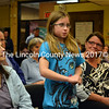 Fifth grader Marguerita Fairfield makes her plea to the Wiscasset Schoool Board to keep the Wiscassett MIddle School open.  (Kathy Onorato photo)