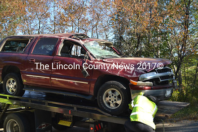 This Chevrolet SUV sustained heavy damage after it rolled over and collided with another vehicle on the Lower Round Pond Road in Bristol Monday, Sept. 15. The driver was taken to the hospital with non-life-threatening injuries. (Kathy Onorato photo)
