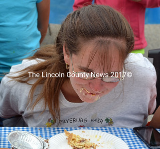 Whitefiled's 2014 Pie Eating Champion Lisa Kalloch ate three pies to earn the title during Whitefield Community Day Sept. 13. (Kathy Onorato photo)