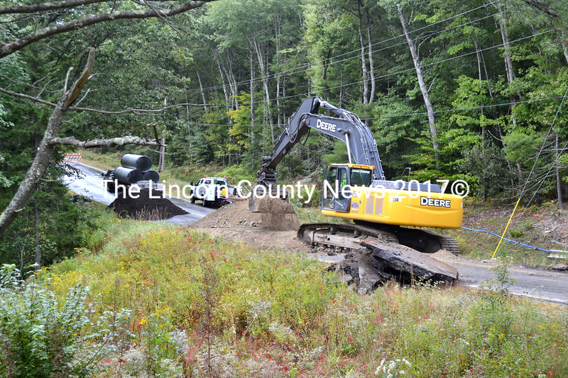 The replacement of a failing cross pipe on Route 32 in Waldoboro just south of Ledges Circle will close the road to through traffic from Sept. 16 to Sept. 18. (D. Lobkowicz photo)