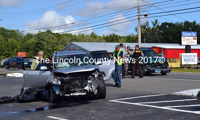 Emergency personnel respond to the scene of a motor-vehicle accident on Route 1 in Wiscasset Wednesday, Sept. 10. (Kathy Onorato photo)
