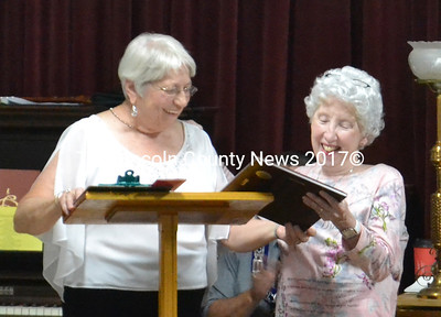 Lillian Dolloff (left), lecturer-elect for Meenhaga Grange, presented the grange's Community Citizen Award to Jean Lawrence in recognition of her outstanding volunteer service. (D. Lobkowicz photo)