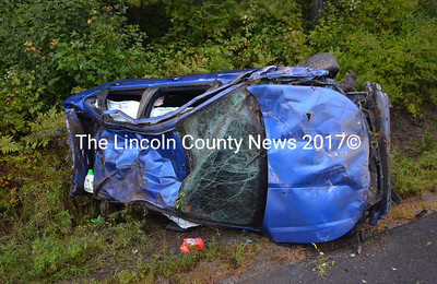The Waldoboro Police Department is investigating a Sept. 11 rollover accident involving this Ford Focus on Old Route 1. (D. Lobkowicz photo)
