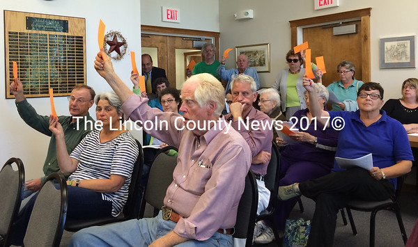 Damariscotta voters approve an adult business moratorium during a special town meeting at the Damariscotta town office Wednesday, Sept. 17. (J.W. Oliver photo)