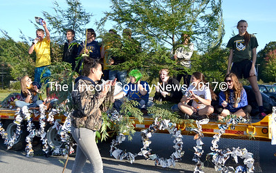 "The Medomak Valley High School junior class's float won first place in the ""Go Green"" Homecoming parade Sept. 19. (D. Lobkowicz photo)"