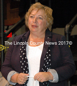 Rep. Lori Fowle, D-Vassalboro, speaks at The Lincoln County News candidate forum in Newcastle Monday, Sept. 29. Fowle is running for re-election in House District 80, which includes the Lincoln County town of Somerville.
