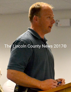 Waldoboro Fire Chief Paul Smeltzer speaks about a proposed billing ordinance for the department Sept. 23. (D. Lobkowicz photo)