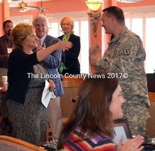 Maine's First Lady Ann LePage greets Maine National Guard community liaison Nathaniel Grace. LePage was in Edgecomb Sept. 25 to help kick off the Maine Veterans' Job Conference, held at the Water's Edge Banquet & Function Facilty. (Kathy Onorato photo)