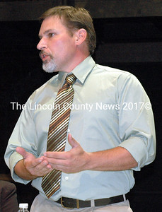 Edgecomb independent and House District 89 candidate Bill Coombs speaks at The Lincoln County News candidates forum at Lincoln Academy's Parker B. Poe Theater in Newcastle Monday, Sept. 29.