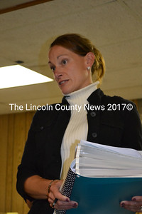 Edgecomb School Board Chairman Sarah Clifford tells the selectmen and members of the public, the school board was unaware a town-wide vote was required to approve a five-year loan funding a tractor purchase. (Charlotte Boynton photo)