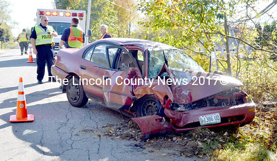 The operator of this Toyota Corolla over-corrected after he was crowded by an oncoming vehicle on Finntown Road, and subsequently left the roadway and struck a tree, according to Waldoboro Police Officer Jeff Fuller. (D. Lobkowicz photo)