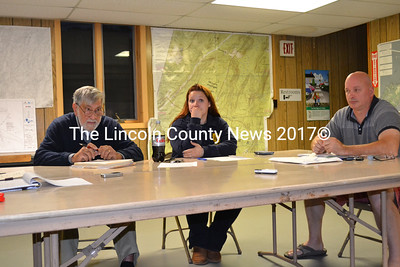 Edgecomb Selectmen report on the inspection of the Eddy Road during their meeting Monday, Oct. 6. Shown left to right, Selectmen Jack Sarmanian, Jessica Chubbuck, and Stuart Smith. (Charlotte Boynton photo)