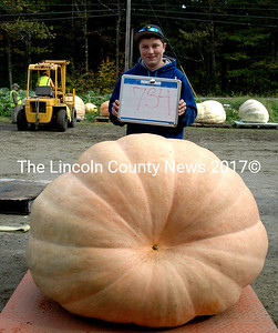 Justice Pierpont was winner of the Kid's Giant Pumpkin weigh-off, with his 734 pound pumpkin. (Eleanor Cade Busby photo)