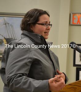 Sara Harvey addresses the Wiscasset Board of Selectmen Oct. 7. (Charlotte Boynton photo)