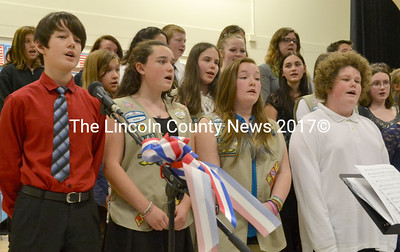 "Members of the Medomak Middle School Chorus sing ""God Bless America."" (D. Lobkowicz photo)"