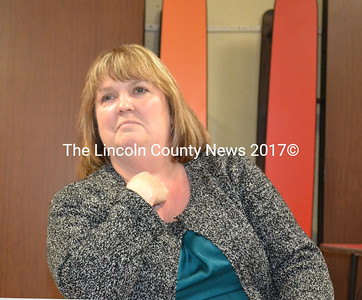 Wiscasset High School Principal Cheri Towle addresses the benefits of moving seventh and eighth grade students to Wiscasset High School facility, during a workshop held by Wiscasset School Board, Nov. 17. (Charlotte Boynton photo)