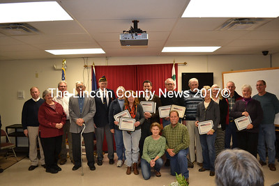 Spirit of America award winners proudly display their certificates at the Spirit of America Awards ceremony in Wiscasset Tuesday, Nov. 18. The Spirit of America award winners were hand-selected by the municipalities in Lincoln County for their outstanding volunteer work.  (Abigail Adams photo)