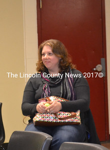 Wiscasset resident Andrea Main speaks out against closing the Wiscasset Primary School Nov. 17. (Charlotte Boynton photo)