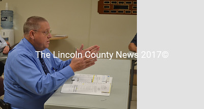 Lincoln County Sheriff Todd Brackett advocates for a 4 percent increase in the Lincoln County Sheriff's Office budget at a meeting of the Lincoln County Board of Commissioners and the Lincoln County Budget Advisory Committee in Wiscasset Thursday, Nov. 13. (Charlotte Boynton photo)