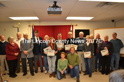 Spirit of America award winners proudly display their certificates at an award ceremony in Wiscasset Tuesday, Nov. 18. The Spirit of America award winners were selected by the municipalities in Lincoln County for their outstanding volunteer work. (Abigail Adams photo)