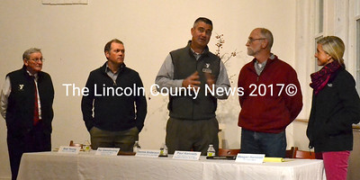 Flanked by other Y officials, CLC YMCA Board of Directors Chair Dennis Anderson (center) speaks at an open meeting on the progress of the Waldoboro YMCA project Nov. 13. (D. Lobkowicz photo)
