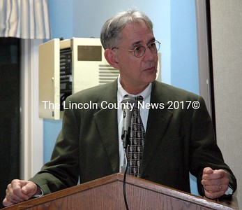 Mobius Inc. Executive Director David Lawlor speaks during the agency's annual meeting at its community center in Damariscotta Nov. 10. (J.W. Oliver photo)