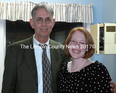 Outgoing Mobius Inc. Executive Director David Lawlor poses with incoming Executive Director Rebecca Emmons during the agency's annual meeting at its community center in Damariscotta Nov. 10. (J.W. Oliver photo)