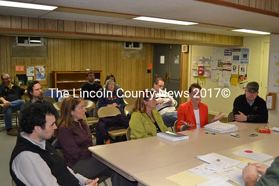 From left: Edgecomb School Committee members Tom Abello and Cassandra Fabiano, AOS 98 Superintendent Eileen King, committee Chair Sarah Clifford, and Edgecomb Fire Chief Roy Potter attend an Edgecomb Board of Selectmen meeting about the fate of the Edgecomb Eddy School's broken tractor Monday, Dec. 1. Ownership of the tractor and the proper procedure to follow to dispose of it are still undetermined. (Abigail Adams photo)