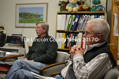 Greenleaf Cove Association member Dennis Dunbar (left) and President William Sartoris ask the Westport Island Board of Selectmen to consider the association's abatement application during a public hearing at the town office Monday, Dec. 1. (Charlotte Boynton photo)